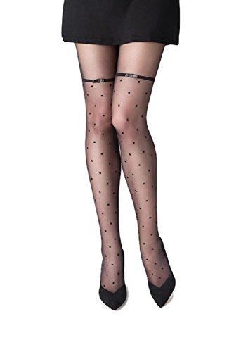(Marilyn Designer Hosiery w/Polka Dot Pantyhose (S/M, Black Satin))