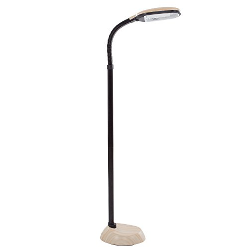 - Lavish Home (72-G0820) 5 Feet Sunlight Floor Lamp With Adjustable Gooseneck - Light Wood Grain