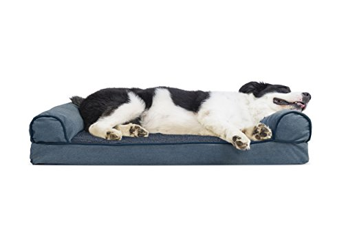 Furhaven Pet Dog Bed | Cooling Gel Memory Foam Orthopedic Faux Fleece & Chenille Sofa-Style Couch Pet Bed for Dogs & Cats, Orion Blue, Large by Furhaven Pet