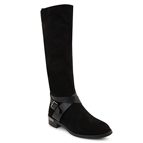 New Womens Ladies Knee High Flat Heel Zip Boots Shoes Size UK 3-8 Black