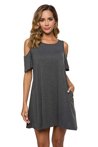 Malist Women's Summer Cold Shoulder Tunic Top T-Shirt Swing Dress with Pockets Gray Small