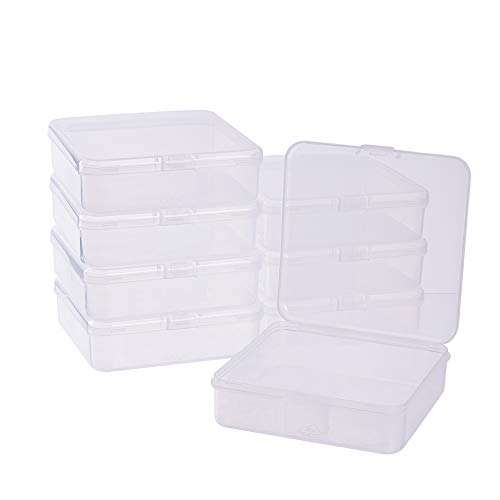 - BENECREAT 8 Pack 4.13x4.13x1.18 Square Clear Plastic Bead Storage Containers Box Case with lid for Crafts, Beads, Coins, Jewelry and Watch Findings