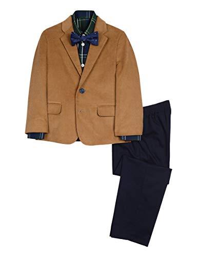 Nautica Boys' Little 4-Piece Formal Dresswear Suit Set with Bow Tie, Original Tidal Green, 7
