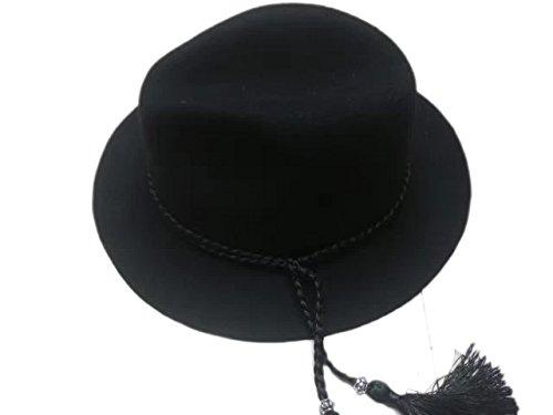 Laine Femme Fedora Fille Chapeau Acvip Charmant Trilby Noir Avec Feutre Frange YCqREE