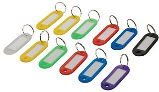 Silverline 844160 - Llaveros de colores con etiqueta identificativa, 12 pzas (12 pzas) , Modelos/colores Surtidos, 1 Unidad