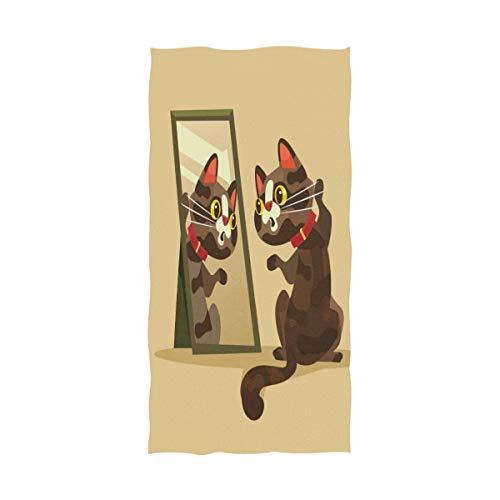 (QIAOSHENG Cat Looking The Mirror Bath Towels Spa BathTowel Pool Gym Towel Beach Towel Oversized 64x32 for Girls Kids Boys Men Womens)