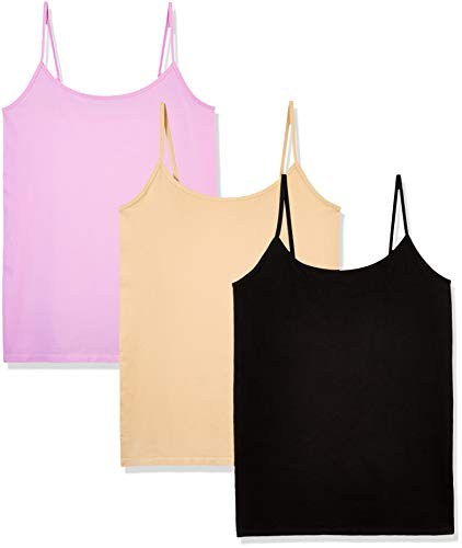 (Layla's Celebrity 3 Pack Women's Seamless Basic Layer Camisole Top Nylon Spandex )