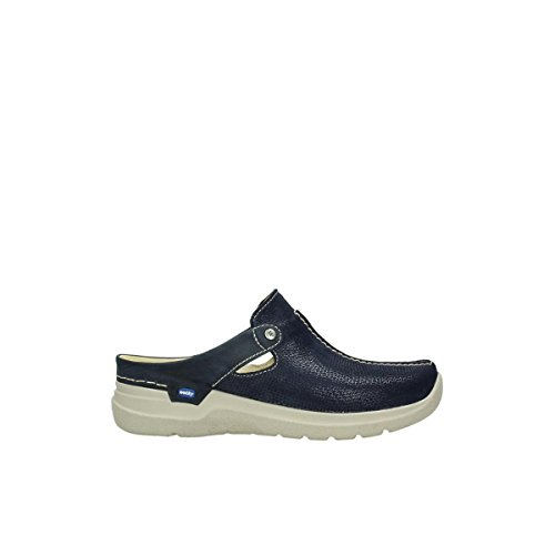 Wolky Comfort Zoccoli Olanda 71870 Blau Leder