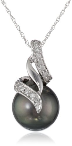 10k White Gold Black Tahitian Cultured Pearl with Diamond Accent Pendant Necklace (1/10 Cttw, H-I Color, I2-I3 Clarity), 17""
