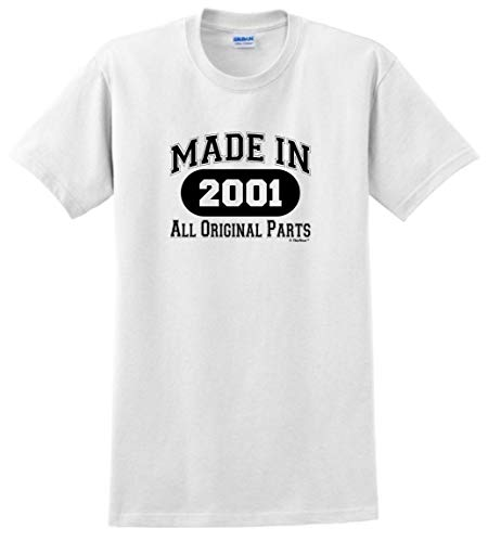 18th Birthday Candles Cards 18th Birthday Gift Made 2001 All Original Parts T-Shirt Large White -