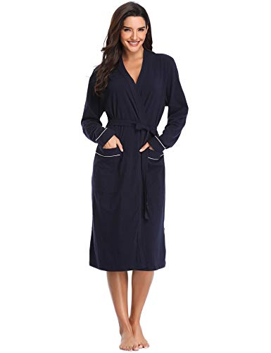 - Lusofie Womens Robe Lightweight Soft Bathrobe Plus Size Dressing Gown with Pockets (Navy,XX-Large)