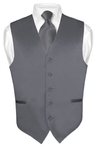 (Men's Dress Vest & NeckTie Solid CHARCOAL GREY Color Neck Tie Set sz XL)