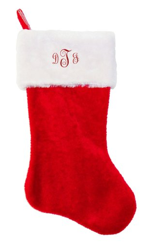"Letters ""DTJ "" Embroidered Personalized Monogram on Red Plush Christmas Stocking from Fastasticdeal"