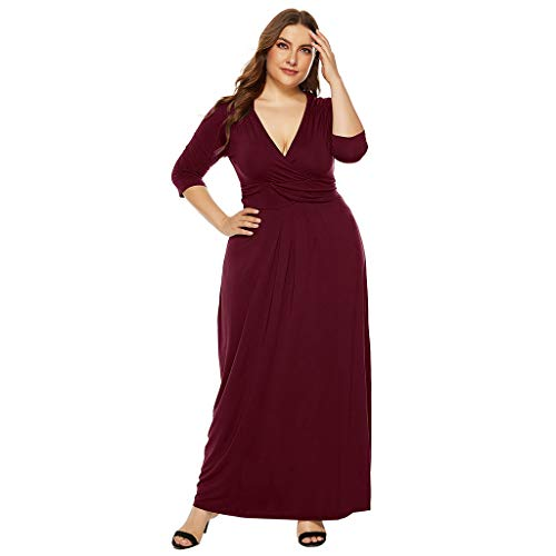 Peigen 2019 Women Plus Size Casual Solid Color V-Neck Half Sleeve Pleat Stretch Slim Dress
