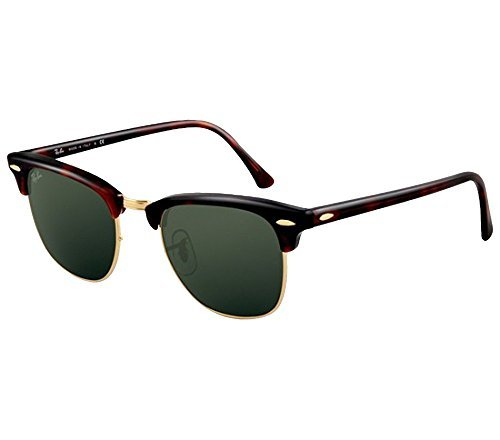 Ray-Ban RB3016 Clubmaster Sunglasses (51 mm, Tortoise Frame Solid Black G15 Lens) Ê