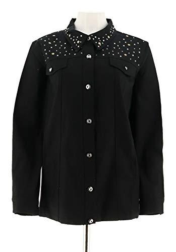 (Quacker Factory Stars Sparkle Woven Button Front Jacket Black XL New)