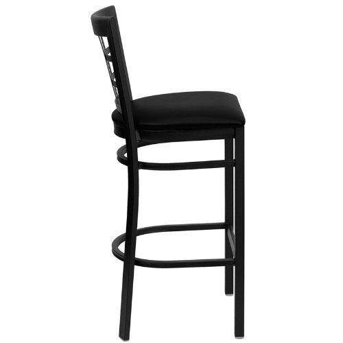 Taburete HERCULES Black Window Back Metal Restaurant Bar Stool Black Vinyl Seat