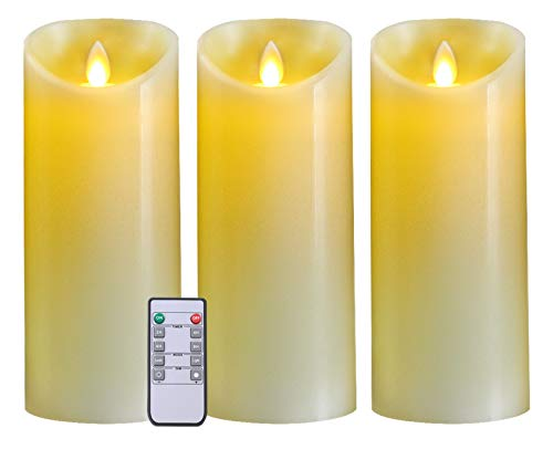 5PLOTS Real Wax Flameless Candles (H9xD3) - Amber Yellow Flickering LED Candles - Battery Operated with Remote and Timer - Moving Wick Dancing Flame - Set of 3 -