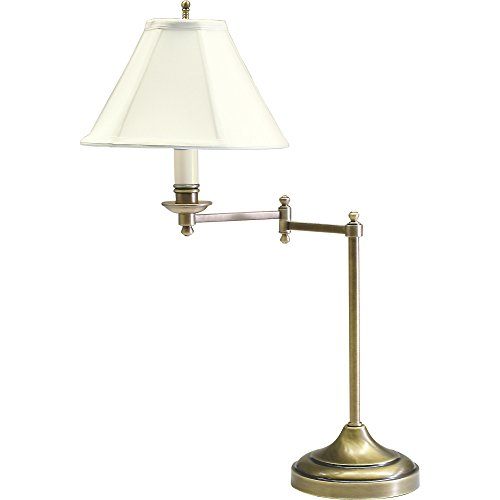 House Of Troy CL251-AB Club Collection Portable Table Lamp with Swing Arm, Antique Brass with Off White Soft Shade by House of Troy
