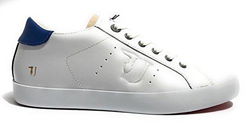 Trussardi Jeans Basic, Sneaker a Collo Basso Uomo Bianco/ Blu