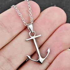 jacob alex #40608 Genuine 925 Sterling Silver Boat Anchor Hook Pendant Necklace Chain 18