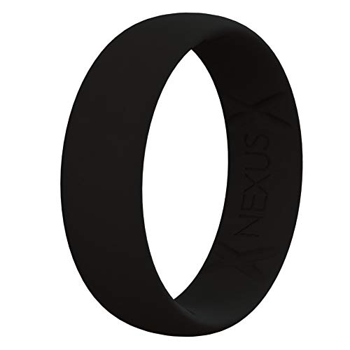 (NEXUS Silicone Wedding Ring for Men and Women, Thin, Affordable 7mm Metallic Silicone Rubber Wedding Bands, Comfortable Fit, Black, Blue Rose Gold, Silver, Gold, Copper, no Sweat. Safe (Black, 12))