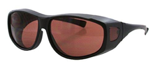 Men Women Unisex Sun Shield Blue Light Blocking Sunglasses HD Copper Driving Lenses Wear Over Prescription Glasses, (Black) Size Medium (Microfiber Pouch - Lens Prescription Single Glasses