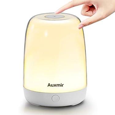 Auxmir-Lampara-de-Mesita-de-Noche-LED-con-Bateria-RecargableControl-Tactil-Luz-Regulable-Lampara-de-Noche-de-Luz-Blanca-Calida-Regulable-GRB-para-LeerDormidorio-de-Ninos-Luz-de-Ambiente