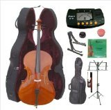 Merano 4/4 Size Cello with Hard Case with Bag and Bow+2 Sets of Strings+Cello Stand+Black Music Stand+Metro Tuner+Mute+Rosin by Merano