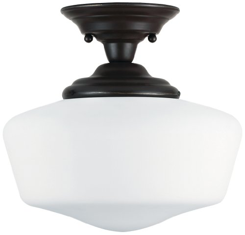 Sea Gull Lighting 77437-782 Academy Large One-Light Semi-Flush Mount Hanging Modern Light Fixture, Heirloom Bronze Finish