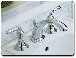 KOHLER KCP Devonshire Widespread Lavatory Faucet Polished - Devonshire bathroom faucet