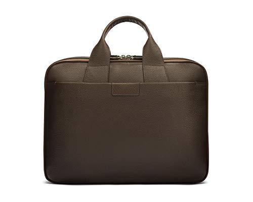 SAGEBROWN Brown With Gunmetal Zips Belmont Briefcase