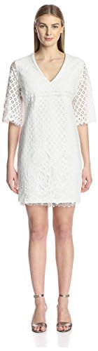 (Alexia Admor Women's Embroidered Lace Dress, White S)