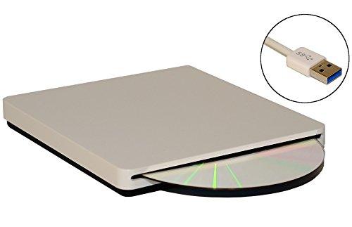 Firstcom External USB 3.0 Slot-Loading DVD Burner CD Writer DVDRW Ultraslim for PC / Notebook / Apple Macbook / Pro Superdrive Mac iMAC Macbook Air (White)
