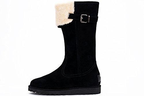 OZZEG Fourrure neige bottes en cuir Slip de la femme on hiver chaussures en peau de mouton laine (39.5, noir)