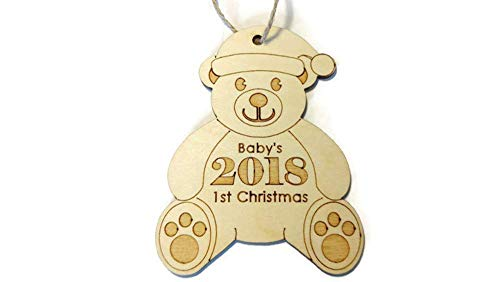(2018 Baby's 1st Christmas ornament - Keepsake Gift - teddy bear Santa - 3.25 in x 4.25 in - Laser cut and engraved birch)