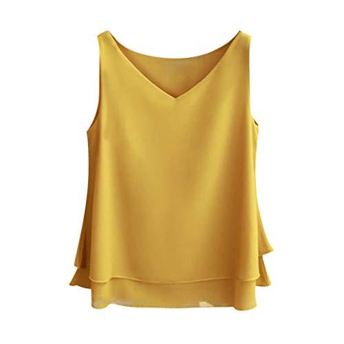 Keliay Womens Tops for Summer,Women's Summer Sleeveless Chiffon Shirt Solid V-Neck Casual Blouse Top
