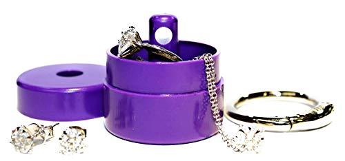 Lion Latch Jewelry Tote Pill Box Keychain Container Jewelry Box Case Storage (Purple)