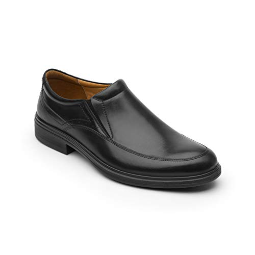 Flexi Nelson Men's Genuine Leather Elastic Loafer Shoes, Black | 91405 (10)