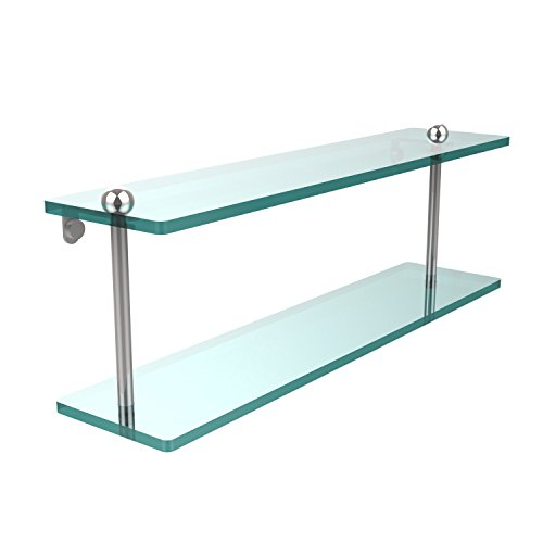 Allied Brass RC-2/22-PC 22 Inch Two Tiered Glass Shelf, Polished Chrome