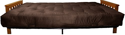 Berkeley 10-inch Loft Inner Spring Futon Sofa Sleeper Bed, Queen-size, Mahogany Arm Finish, Microfiber Suede Chocolate Brown Upholstery