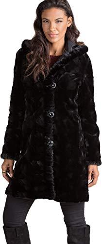 (Betsy Reversible Hooded Mink Fur Coat Black)