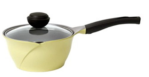 Cheftopf Larose Premium Pot, Specialty Nonstick Dishwasher Safe,Pot with Glass Lid Cookware, 18cm. Yellow