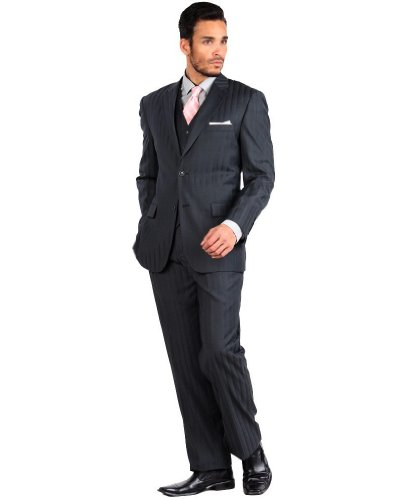 Tone Stripe Mens Suit (Mens Tazio Suit 3 Piece Modern Fit Shadow Stripe (Tone-on-Tone) 38R Dark Grey)