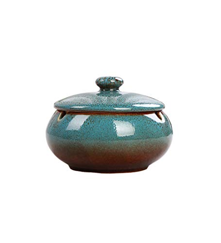 JWSJ FADA Ceramic Ashtray with Lids,Windproof,Cigarette Ashtray for Indoor or Outdoor Use,Ash Holder for Smokers,Desktop Smoking Ash Tray for Home Office Decoration (Blue)