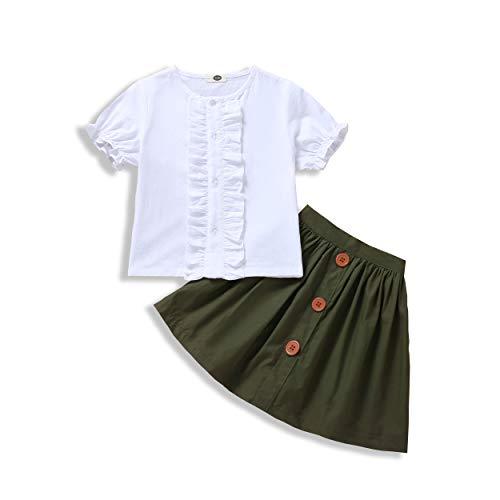 WOSENHK Baby Girls Skirts Set Newborn Girls Ruffled Short Sleeve Tops Button A-line Dress School Skirt Outfits (White, 4-5 T)