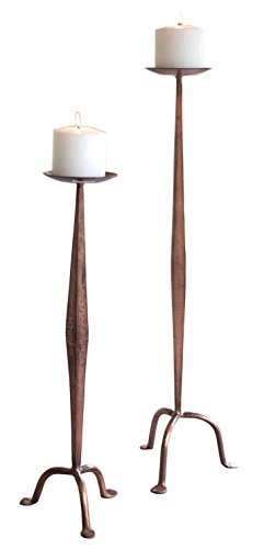 Bellacor Copper Candle Holder - Kalalou Set of Two Antique Copper Candle Stands