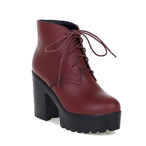 Women's Platform High Chunky Heel Ankle Booties Lace Up Round Toe Fall Winter Short Martin Boots