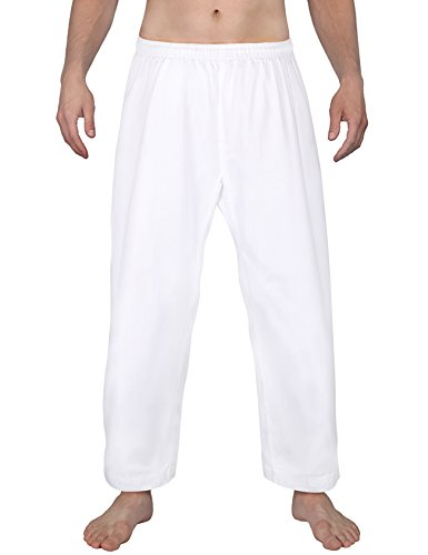 FitsT4 Karate Pants 8oz Middleweight Elastic Waist Martial Arts Pants Perfect for Training or Competition White, 4