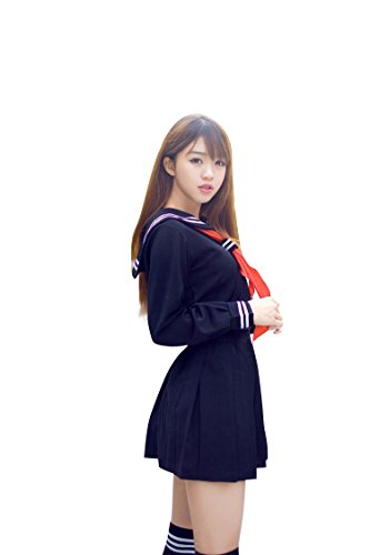 I-MARTWomen's Sailor Suit Cosplay Costume Navy 4 Pcs Jacket/Skirt/Ribbon Tie/Socks (M) (Sailor Halloween Costumes)